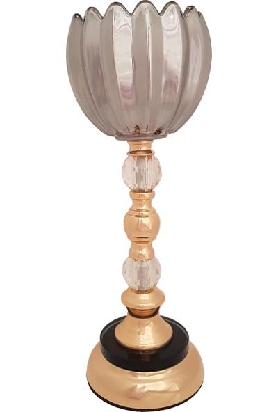 Furkan FRK984 Altın Ayaklı Cam Mumluk Dekoratif Salon Aksesuar Seti Füme Cam Şamdan