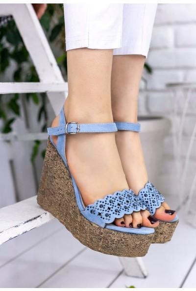 Erbilden Pinhan Bebe Mavisi Süet Dolgu Topuk Sandalet