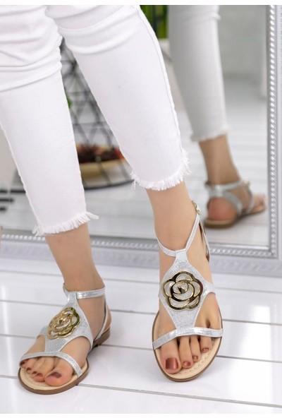 Erbilden Pink Gümüş Cilt Sandalet
