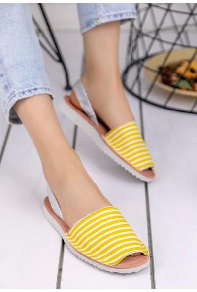 Erbilden Samiye Sarı Beyaz Çizgili Sandalet