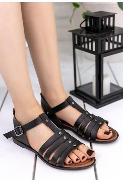 Erbilden Wanda Siyah Cilt Sandalet