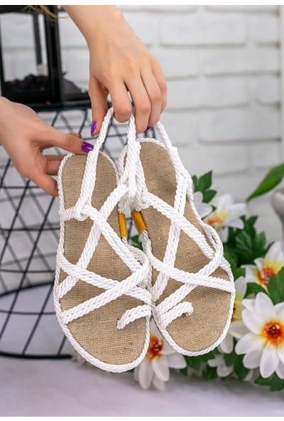 Erbilden Nyla Beyaz Halatlı Sandalet
