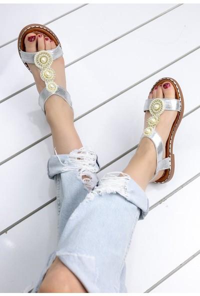Erbilden Clare Gümüş Cilt Sandalet