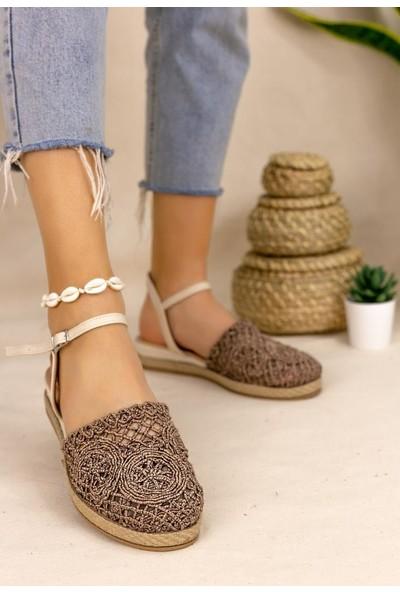 Erbilden Nyal Bronz Örgülü Sandalet