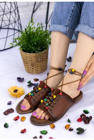 Erbilden Felix Taba Cilt Boncuklu Sandalet