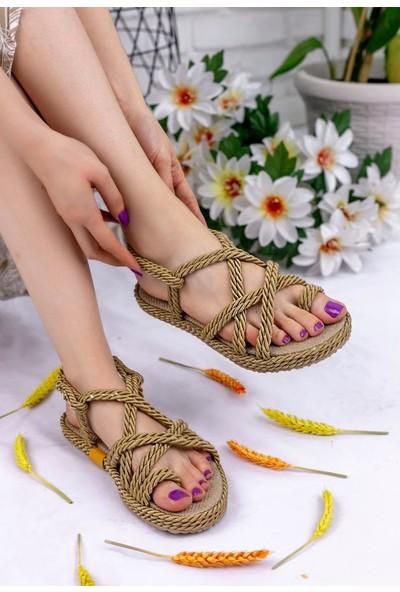 Erbilden Nyla Gold Halatlı Sandalet