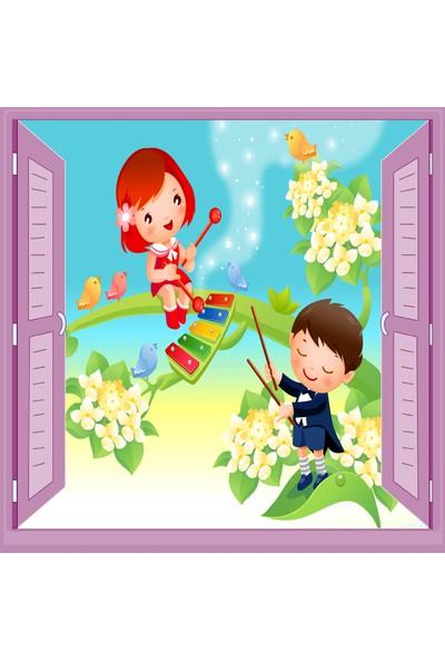 Jasmin Pencereden Müzisyen Çocuk Odası Duvar Kağıdı Poster