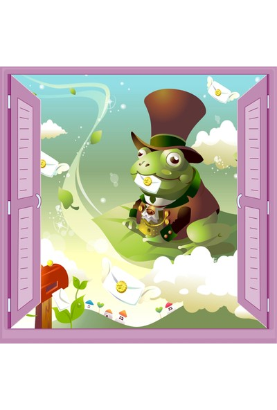 Jasmin Pencereden Kurbağa Çocuk Odası Duvar Kağıdı Poster