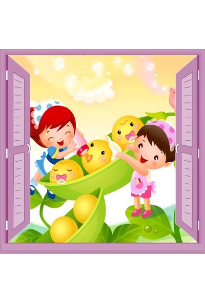 Jasmin Pencereden Bebek Bakıcıları Çocuk Odası Duvar Kağıdı Poster