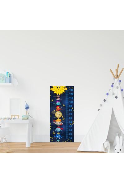 Jasmin Çocuk Odası Bebek Odası Gezegenler Boy Cetveli Boy Ölçer Sticker