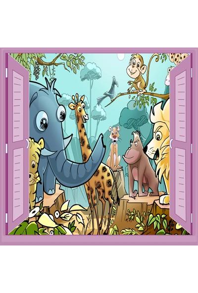 Jasmin Pencereden Hayvanlar Alemi Çocuk Odası Duvar Kağıdı Poster