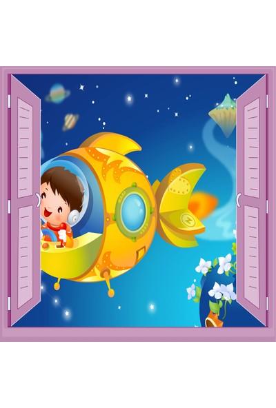 Jasmin Pencereden Uzay Aracı Çocuk Odası Duvar Kağıdı Poster