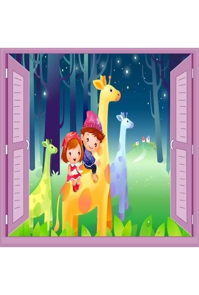 Jasmin Pencereden Zürafa Çocuk Odası Duvar Kağıdı Poster