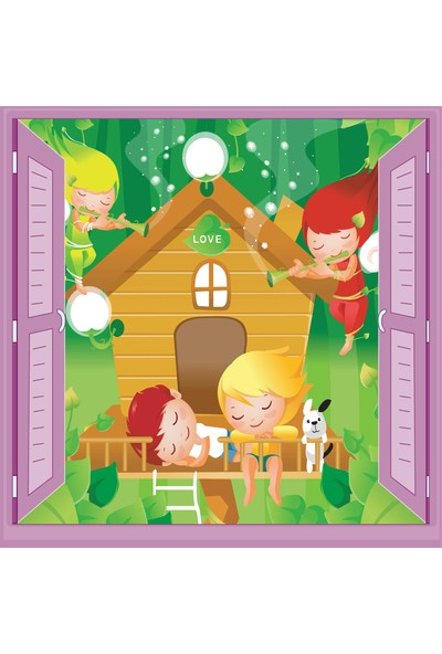 Jasmin Pencereden Ağaç Ev Çocuk Odası Duvar Kağıdı Poster