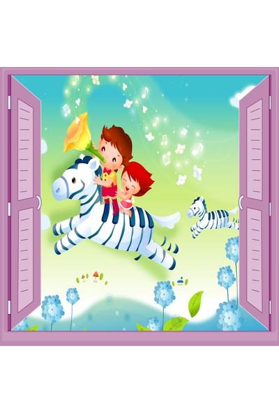 Jasmin Pencereden At ve Çocuklar Çocuk Odası Duvar Kağıdı Poster