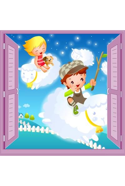 Jasmin Pencereden Koyunlar Çocuk Odası Duvar Kağıdı Poster