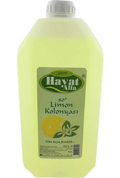Hayat 6 Adet 5 Litre (1 Koli) Limon Kolonyası 80 Derece