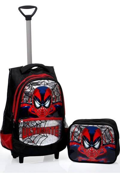 Omelo Anaokulu İlkokul Çekçekli Sırt Çantası Örümcek Adam Beslenme Çanta 5 6 7 Yaş Su Geçirmez