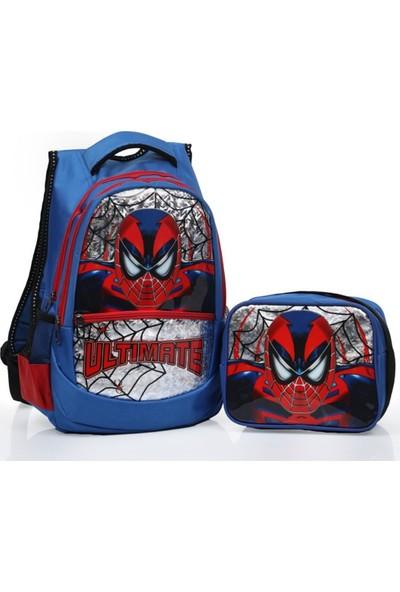 Omelo Okul İlkokul Sırt Çantası Örümcek Adam Beslenme Çantalı Astarlı 5 6 7 Yaş Su Geçirmez