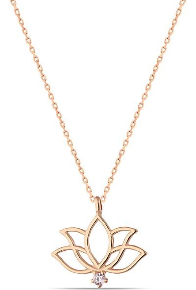 Herisson Kadın 925 Ayar Gümüş Zirkon Lavender Taşlı Lotus Kolye