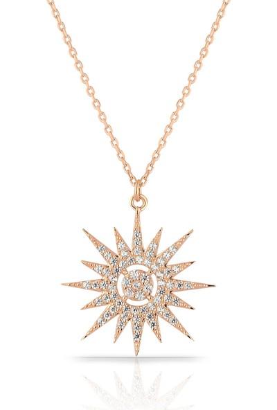Herisson Kadın 925 Ayar Gümüş Zirkon Beyaz Taşlı Kuzey Yıldızı Kolye