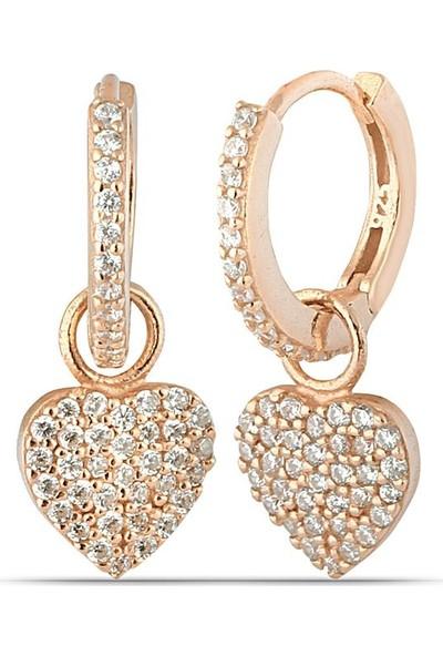 Herisson Kadın 925 Ayar Gümüş Zirkon Beyaz Taşlı Kalp Küpe