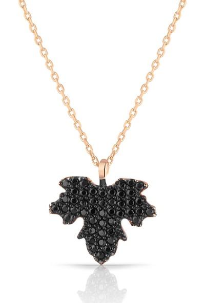 Herisson Kadın 925 Ayar Gümüş Oniks Siyah Taşlı Çınar Yaprağı Kolye