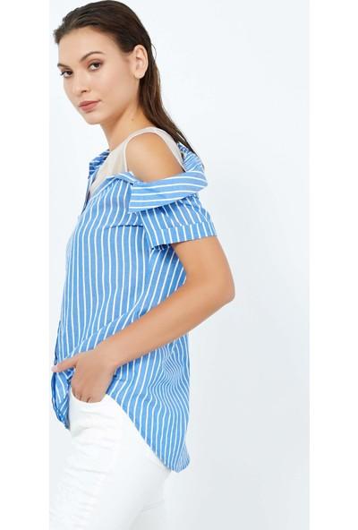 Adze Kadın Mavi Kısa Kol Çizgili Bluz