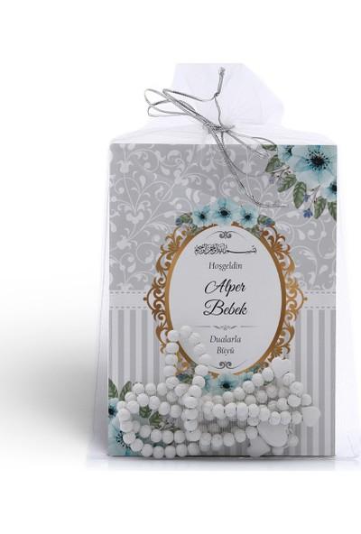 Mutluluk Atölyem Gri Mavi Çiçek Motifli Tesbihli Yasin Cüzü Kitabı Mevlüt Seti - 10'lu Paket