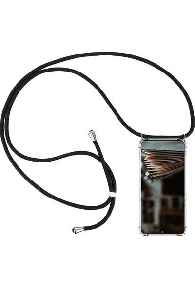Case 4U Samsung Galaxy S20 Ultra Kılıf Boyuna Askılı İpli Silikon Arka Kapak Siyah