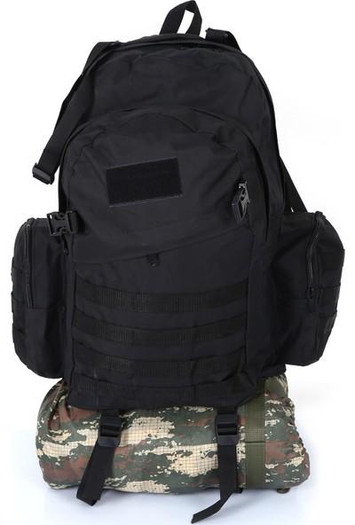 Asker Kolisi 75 lt Siyah Outdoor Taktik Kamp Dağcı Sırt Çantası