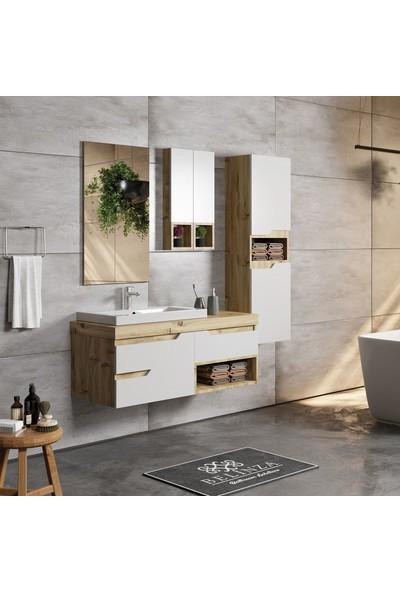 Belinza Modena Banyo Dolabı Takımı Boy Dolaplı 115 cm