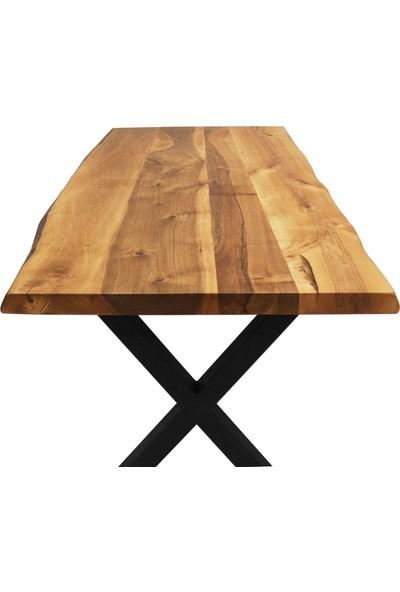 Ateş Wooden Doğal Ahşap 6 Kişilik Ceviz Kütük Yemek Masası 180 x 90 x 5 cm