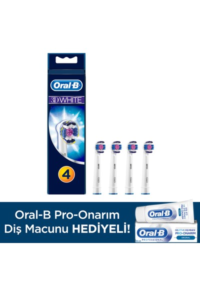 Oral-B 3D White 4'lü Diş Fırçası Yedek Başlığı