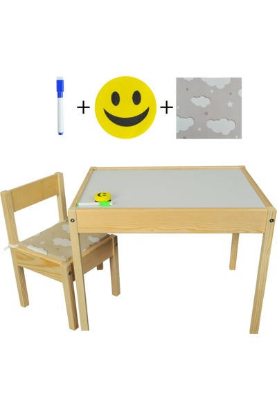 Masal Oyuncak Ahşap Çocuk Masası Yaz Sil Yüzey