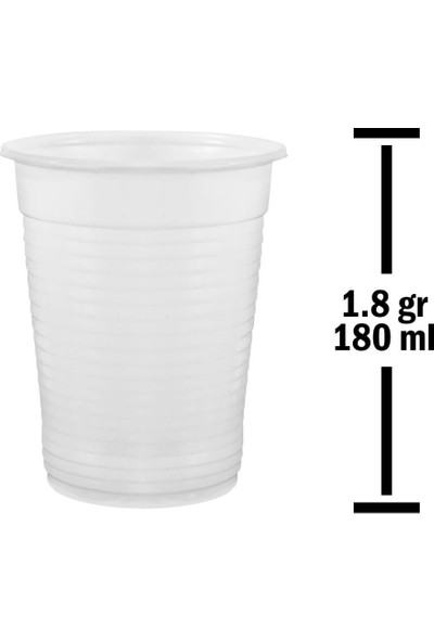 Huhtamaki 180 ml Beyaz Plastik Bardak 1.8 gr 100'lü Paket