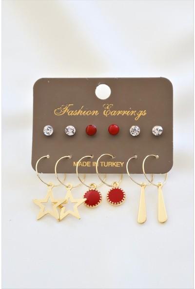 La'dess Accessories & Collections Altın Renkli İçli Yıldız Kırmızı Ünlem Küpe