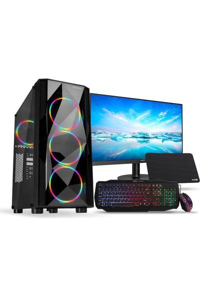 """Dark AMD Ryzen 3 1200 8GB 240GB 8GB RX570 21,5"""" Monitör Freedos Masaüstü Bilgisayar (DK-PC-G711WH)"""
