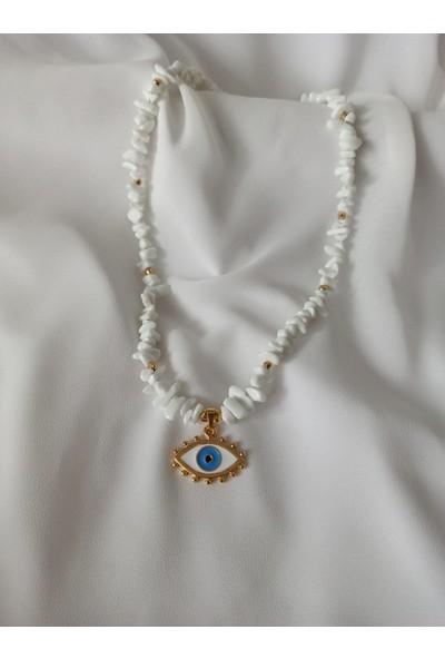 Aysha Accessories Beyaz Doğal Taş Göz Kolye