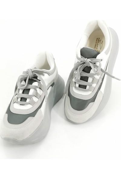 Cudo Bağcıklı Çift Renk Kadın Ayakkabı - Gri