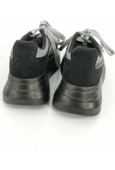 Cudo Bağcıklı Çift Renk Kadın Ayakkabı - Siyah Gri