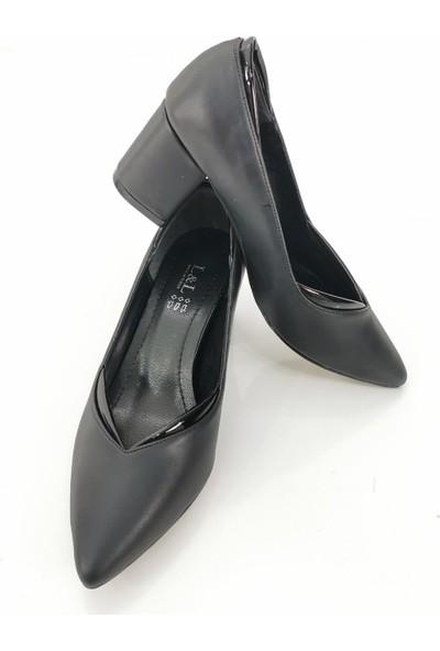 Cudo Kadın Cilt Topuklu Ayakkabı - Siyah