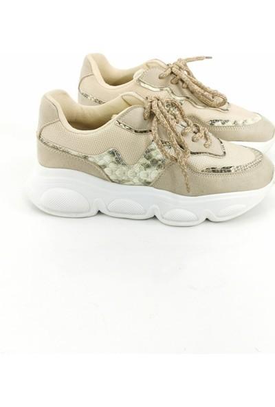 Cudo Yılan Desen Kadın Spor Ayakkabı - Bej