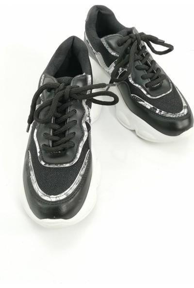 Cudo Yılan Desen Kadın Spor Ayakkabı - Siyah