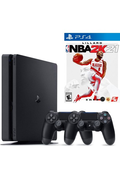 Sony PS4 Slim 500GB Konsol + 2. PS4 Kol + PS4 Nba 2K21