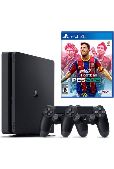 Sony PS4 Slim 500GB Konsol + 2. PS4 Kol + PS4 Pes 2021