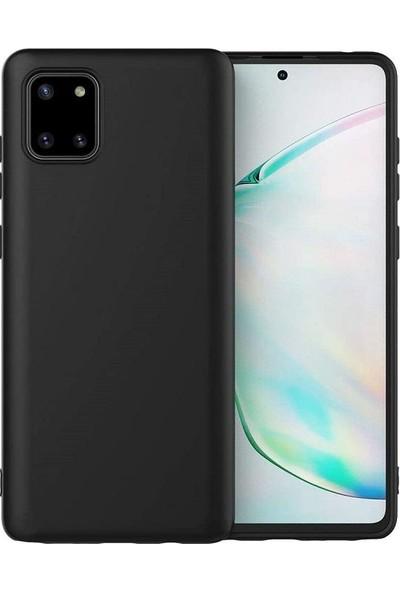 Engo Samsung Galaxy A81 Lansman Kılıf Liquid Silicone Kamera Korumalı Siyah