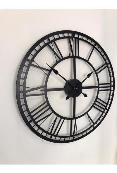Platin Saat 60 cm Siyah Metal Duvar Saati
