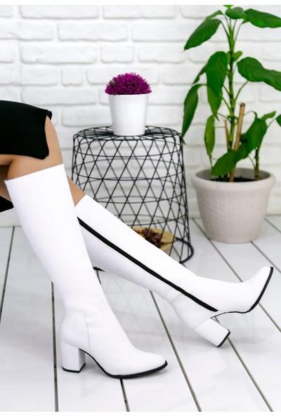 Pabucmarketi Kadın Beyaz Cilt Çizme