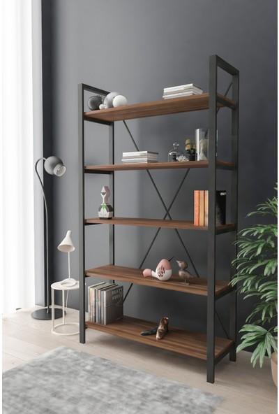 Wood House Efsun Geniş Raflı Kitaplık Ceviz